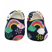 Baby Shoes first Walkers Navy RAINBOW Kids Slippers Pram Shoes Gift Idea 0-9Y