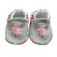 Baby Shoes first Walkers FOX HEADS Slippers Pram Shoes Gift Idea 0-24M