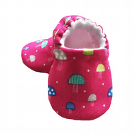 Baby Shoes first Walkers pink TOADSTOOLS Slippers Pram Shoes Gift Idea 0-24M