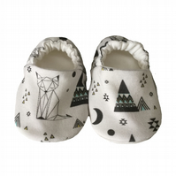 ORGANIC Geometric FOXES & PYRAMIDS Kids Slippers Pram Shoes BABY GIFT IDEA 0-9Y