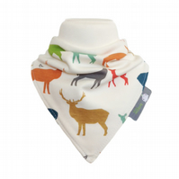 organic bib, bandana bib, bibs, multi elks, teething, new baby, gift idea