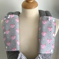 DROOL PADS Strap Covers for ERGO or CUSTOM Baby Carrier in Grey Foxes Fox Fabric