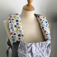 ERGO BABY CARRIER Drool Pads TEETHING PADS Strap Covers in Multi Coloured Stars