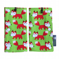 DROOL PADS Strap Covers for ERGO CUSTOM Baby Carrier in Green Foxes Fox Fabric