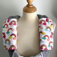 DROOL PADS Strap Covers 4 ERGO or CUSTOM Baby Carrier White Rainbows Fabric