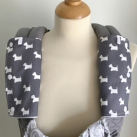 DROOL PADS Strap Covers for ERGO or CUSTOM Baby Carrier Grey Scottie Dog Fabric