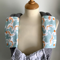 DROOL PADS Strap Covers for ERGO or CUSTOM Baby Carrier in Kissing Fish Fabric
