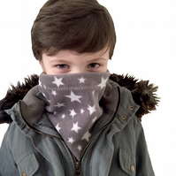 Handmade GREY TWINKLE STARS Fleece UNISEX NECK WARMER DUDE SNOOD Kids SCARF