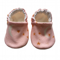 Glitter Moon & Star Shoes Organic Moccasins Kids Slippers Pink Shoes Gift 0-9Y