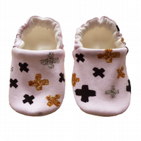 Glitter Crosses Shoes Organic Moccasins Kids Slippers Pram Shoes Gift Idea 0-9Y
