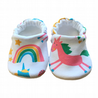 Unicorn Rainbow Shoes Organic Moccasins Kids Slippers Pram Shoes Gift Idea 0-9Y