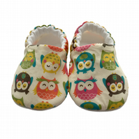 Scandi Owls Shoes Organic Moccasins Kids Slippers Pram Shoes Gift Idea 0-9Y