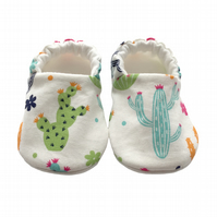 Cactus Shoes Organic Moccasins Kids Slippers Bright Pram Shoes Gift Idea 0-9Y
