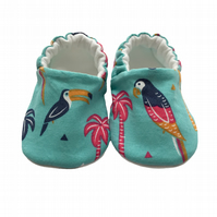 Toucans Parrots Shoes Organic Moccasins Kids Slippers Pram Shoes Gift Idea 0-9Y