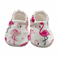 Pink Flamingo's Shoes Organic Moccasins Kids Slippers Pram Shoes Gift Idea 0-9Y