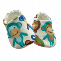 Blue Monkeys Shoes Organic Moccasins Kids Slippers Pram Shoes Gift Idea 0-9Y