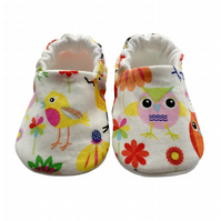 Pretty Owls Baby Shoes Organic Moccasins Kids Slipper Pram Shoes Gift Idea 0-9Y
