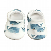 Blue Whale Baby Shoes Organic Moccasins Kids Slippers Pram Shoes Gift Idea 0-9Y