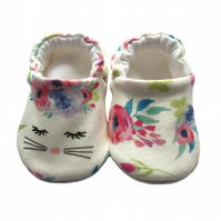 Flower Bunny Shoes Organic Moccasins Kids Slippers Pram Shoes Gift Idea 0-9Y