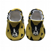 French Bulldog Shoes Organic Moccasins Kids Slippers Pram Shoes Gift Idea 0-9Y