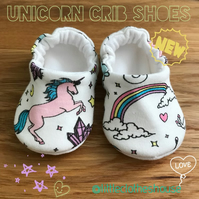 Unicorns Rainbow Shoes Organic Moccasins Kids Slippers Pram Shoes Gift Idea 0-9Y