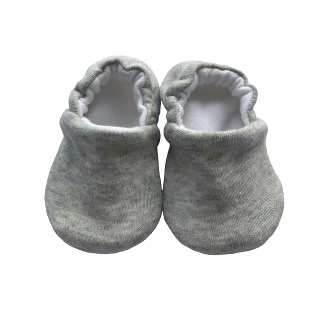 Solid Grey Baby Shoes Organic Moccasins Kids Slipper Pram Shoes Gift Idea 0-9Y