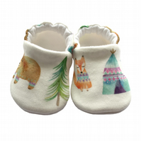 Bears & Tepee Shoes Organic Moccasins Kids Slippers Pram Shoes Gift Idea 0-9Y
