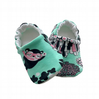 Coral Reef Baby Shoes Organic Moccasins Kids Slippers Pram Shoes Gift Idea 0-9Y