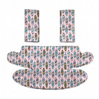 ERGO 360 BABY CARRIER Teething Drool Pad Covers in Pink Feather Cactus Pineapple