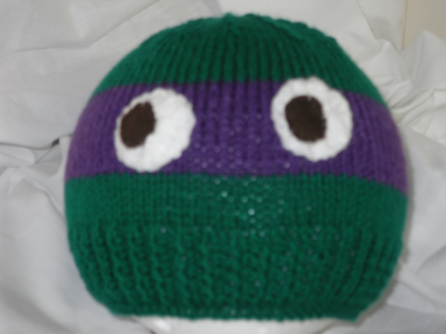 Knitting Pattern Turtle Hat : Knitted Teenage Mutant Ninja Turtle Hat - Folksy