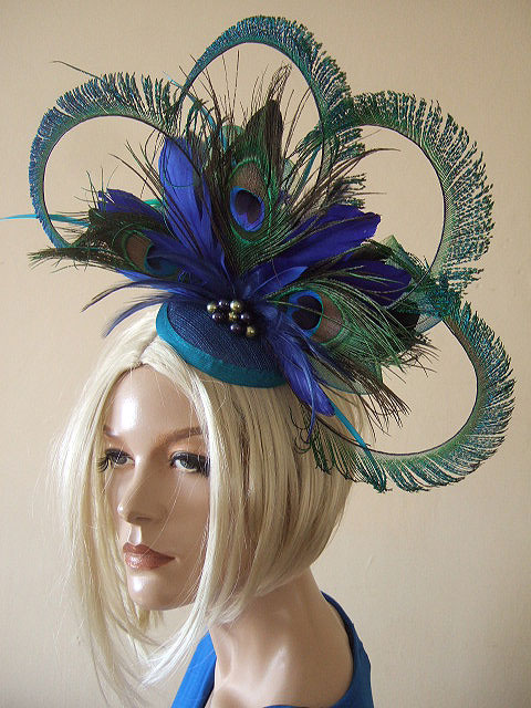 Curled Peacock Feathers Large Fascinator Ombre ... - Folksy 6cc84293ecd