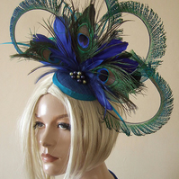 Curled Peacock Feathers Large Fascinator Ombre Crinoline and Swarovski Pearls