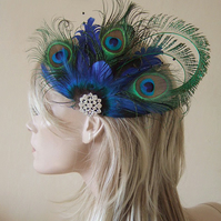 Bridal Curled Peacock Feathers Cluster Crystal Brooch Blue Green Fascinator Clip