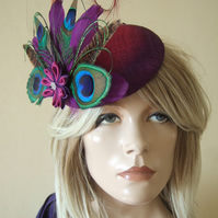 Purple Fuchsia Peacock Pheasant Cluster Large Ombre Button Fascinator Ascot Hat