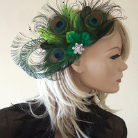 Bridal Curled Peacock Feathers Crystal Brooch Lime Green Emerald Fascinator Clip