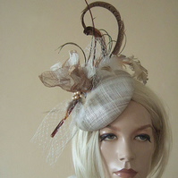 Woodland Tones Gold, Brown, Ivory Feathered Button Fascinator Hatinator Hat