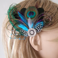 "Bridal Aubergine Purple Turquoise Peacock Feathers Fascinator Hair Clip ""Nenna"""