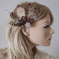 "Bridal Fascinator Peacock Pheasant Feathers Hair Clip Cream Brown Nudes ""Leanne"""
