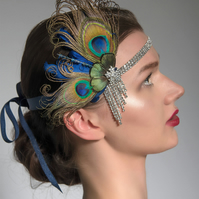 "Navy Blue & Peacock Feathers Flapper Crystal Headband ""Cally"" Fascinator"