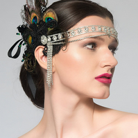 "Lace Feather Crystal Flapper Headband ""Lou"" Gatsby Party Art Deco Fascinator"