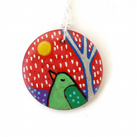 Bird Necklace, Hand Painted on Wood