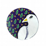 White Bird Pigeon Dove Brooch Hand Painted on Wood