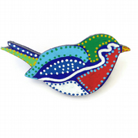 Robin Bird Brooch Hand Painted on Wood
