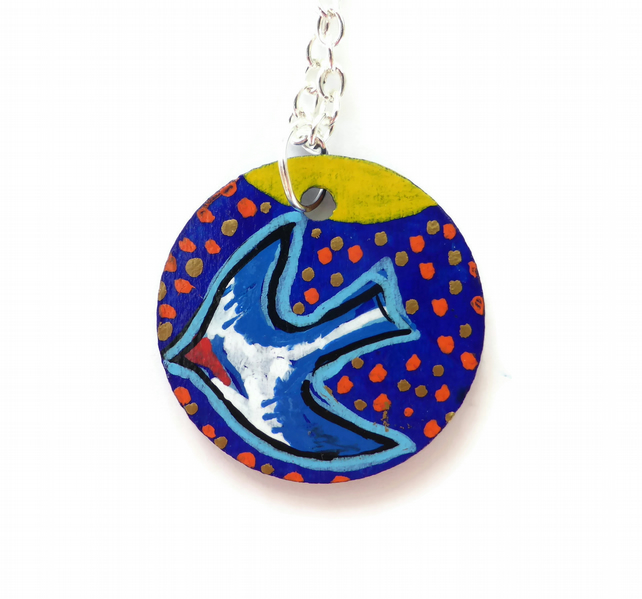 Bird Necklace, Swallow, Hand painted on Wood