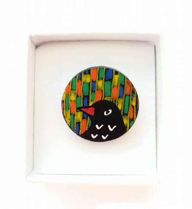 Bird Brooch, Blackbird Hand Painted on Wood