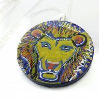 Painted Lion Necklace, Animal Pendant on Wood