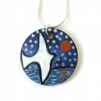 Bird Necklace on Wood