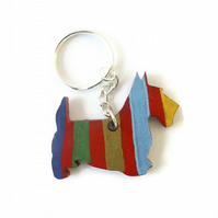 Scottie Dog Keyring, Hand Painted on Wood
