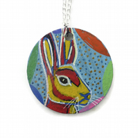 Hare Necklace, Hand Painted on Wood, Easter Hare, Easter Necklace