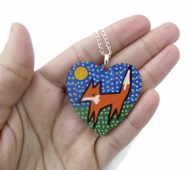 Painted Fox Necklace, Fox Pendant, Heart Necklace